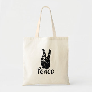 "Icon hand peace sign with text ""PEACE"" Tote Bag"