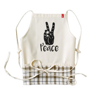 """Icon hand peace sign with text """"PEACE"""" Zazzle HEART Apron"""