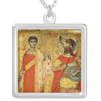 Icon of Saint Stephen with Soldier Square Pendant Necklace