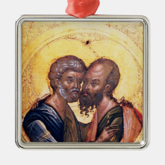 Icon of SS. Peter and Paul Square Metal Christmas Ornament