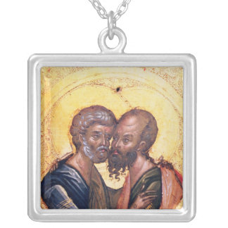 Icon of SS. Peter and Paul Silver Plated Necklace