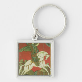 Icon of St. George and the Dragon Silver-Colored Square Keychain