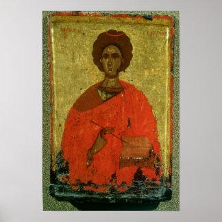Icon of St. Pantaleon of Nicomedia Poster