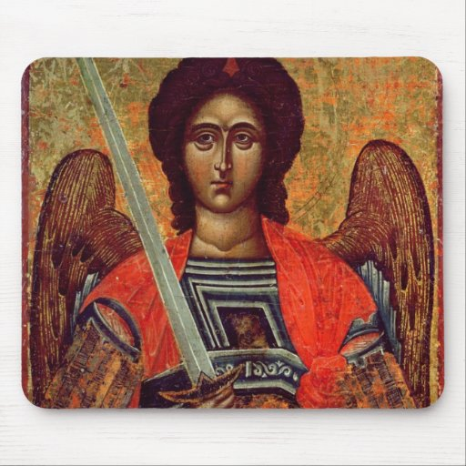 Icon of the Angel Michael, Greek, 18th century Mouse Pads