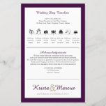 """Icon TImeline Wedding Program<br><div class=""""desc"""">Wedding Timeline on flyer product.   Simply contact seller to have more wedding party lineup changed,  or to request a color change. When making your request,  please include the Zazzle color code(s) you prefer.</div>"""