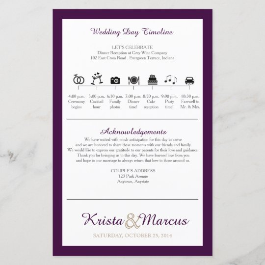 icon timeline wedding program zazzle com