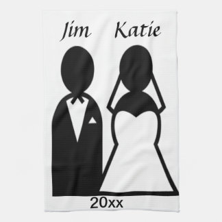 Icon Wedding Couple Hand Towels