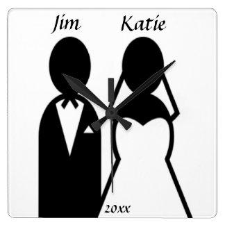 Icon Wedding Couple Square Wall Clock