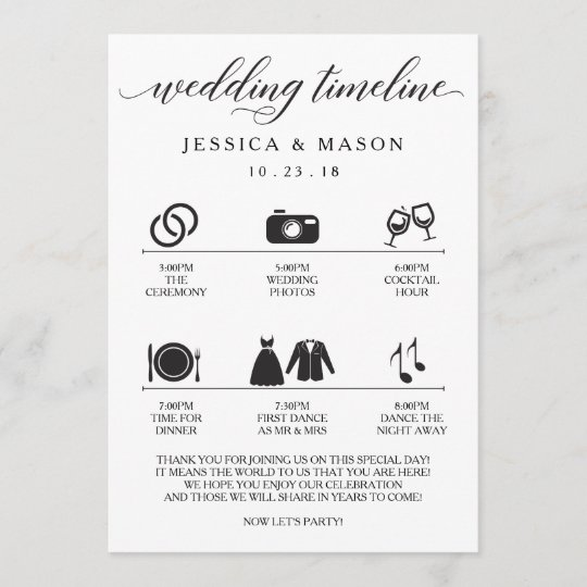 Icon Wedding Itinerary And Welcome Program