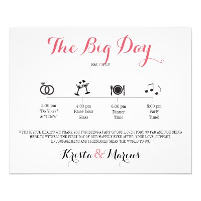 Icon Wedding Itinerary  Destination Wedding Flyer  ZazzleCom
