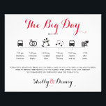 """Icon Wedding Itinerary Flyer<br><div class=""""desc"""">Wedding Itinerary Flyer featuring &quot;Infographic&quot; style timeline. Contact Seller before personalization for timeline icon adjustments or additions.</div>"""