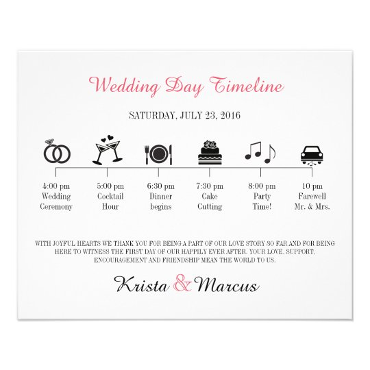 Icon Wedding Timeline Program Flyer  ZazzleCom