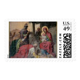 Icongraphy ortodoxo servio en la iglesia de sellos postales