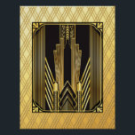 """Iconic Art Deco Poster<br><div class=""""desc"""">I have created a poster very similar to the cushion of the same design. In this poster I have added an Art Deco Frame. It really completes this poster. This could be made into a picture and framed for your home. Or it could be used for an art deco venue...</div>"""