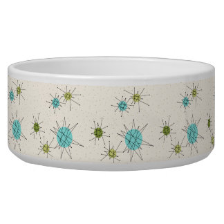 Iconic Atomic Starbursts Ceramic Pet Bowl