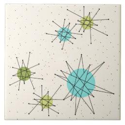 Iconic Atomic Starbursts Large Ceramic Tile