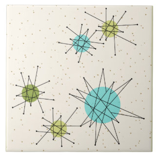 Iconic Atomic Starbursts Large Ceramic Tile