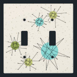 """Iconic Atomic Starbursts Light Switch Cover<br><div class=""""desc"""">This Iconic Atomic Starbursts Light Switch Cover pattern features iconic atomic starbursts. That's right! The old school, cream colored background with gold speckles is the perfect backdrop for the vibrant turquoise, soothing celery, and kitschy pear green colored circles. The spots of color are sporadically placed in various sizes with overlaying...</div>"""