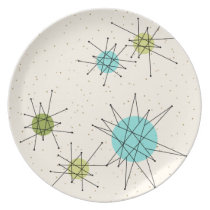 Iconic Atomic Starbursts Melamine Plate