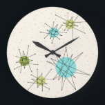 """Iconic Atomic Starbursts Round Wall Clock<br><div class=""""desc"""">This Iconic Atomic Starbursts Round Acrylic Wall Clock pattern features iconic atomic starbursts. That's right! The old school, cream colored background with gold speckles is the perfect backdrop for the vibrant turquoise, soothing celery, and kitschy pear green colored circles. The spots of color are sporadically placed in various sizes with...</div>"""