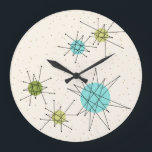 "Iconic Atomic Starbursts Round Wall Clock<br><div class=""desc"">This Iconic Atomic Starbursts Round Acrylic Wall Clock pattern features iconic atomic starbursts. That's right! The old school, cream colored background with gold speckles is the perfect backdrop for the vibrant turquoise, soothing celery, and kitschy pear green colored circles. The spots of color are sporadically placed in various sizes with...</div>"