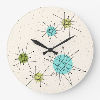 iconic atomic starbursts round wall clock