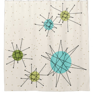 Iconic Atomic Starbursts Shower Curtain at Zazzle