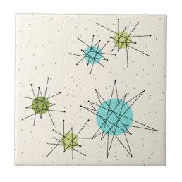 Iconic Atomic Starbursts Small Ceramic Tile