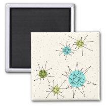 Iconic Atomic Starbursts Square Magnet