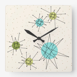 Iconic Atomic Starbursts Square Wall Clock