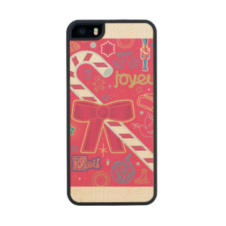 Iconic Candy Cane Wood Phone Case For iPhone SE/5/5s