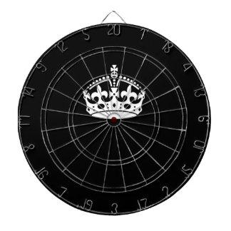 Iconic Keep Calm Crown on Black Dartboard