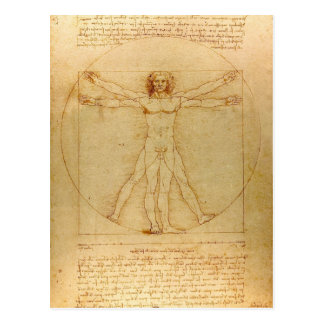 Iconic Leonardo da Vinci Vetruvian Man Postcard
