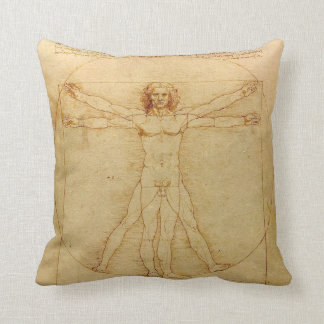 Iconic Leonardo da Vinci Vetruvian Man Throw Pillow
