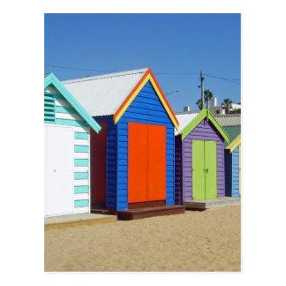 Iconic Melbourne Beach Box Hut Postcard