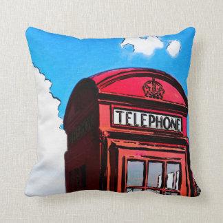 Iconic Red British Telephone Box Throw Pillow