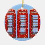 Iconic Red London Phone Boxes Pastel Snowflakes Double-Sided Ceramic Round Christmas Ornament