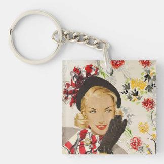 Iconic Retro Lady Image Keychain