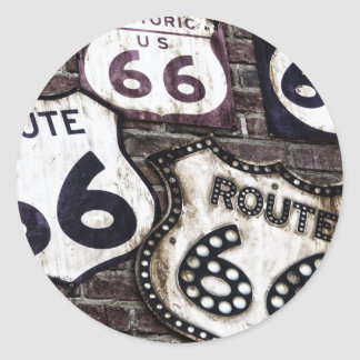 Iconic Route 66 Classic Round Sticker