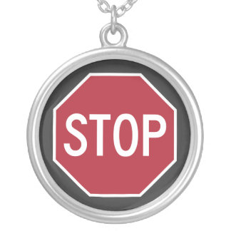 Iconic Stop Sign Silver Necklace