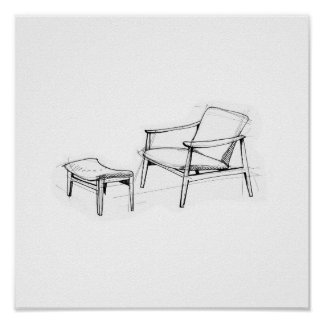 Iconic Vintage Lounge Chair Sketch Poster
