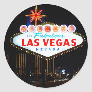 Iconic Welcome To Las Vegas Sign Lit Up At Night Classic Round Sticker