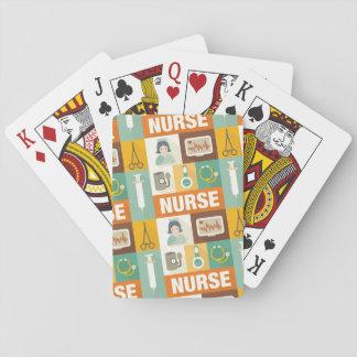 Icónico profesional de la enfermera diseñado cartas de póquer