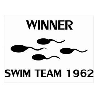 icono 1962 del equipo de natación del ganador tarjetas postales