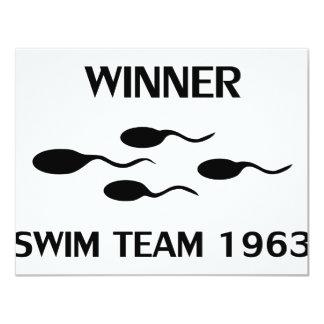 """icono 1963 del equipo de natación del ganador invitación 4.25"""" x 5.5"""""""