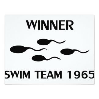 """icono 1965 del equipo de natación del ganador invitación 4.25"""" x 5.5"""""""