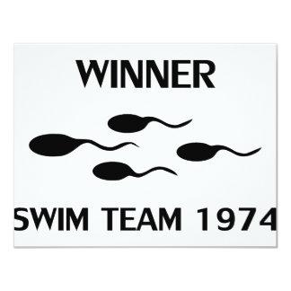 """icono 1974 del equipo de natación del ganador invitación 4.25"""" x 5.5"""""""