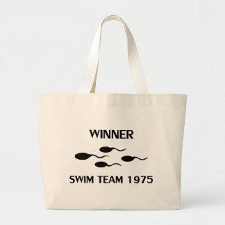icono 1975 del equipo de natación del ganador bolsa tela grande