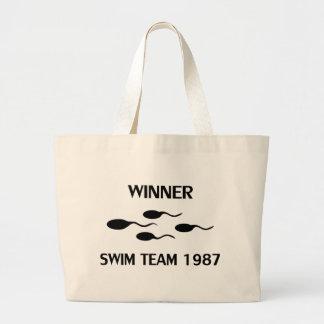 icono 1987 del equipo de natación del ganador bolsa tela grande