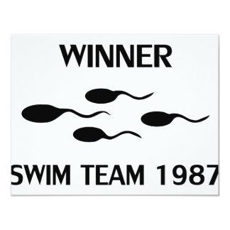 icono 1987 del equipo de natación del ganador invitación 10,8 x 13,9 cm